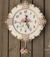 Wholesale Swinging Wall Clock - Wholesale-A005 big size free ship wall clock romantic rose garden mute swing flowers morden new design resin craft