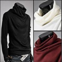 Wholesale Super Man Sweater - Wholesale-Free Shipping Big Size Men's Turtleneck Sweater Super Cool Rotation Collar Cardigan Mens Ultrathin Base Shirt Mens Pullovers