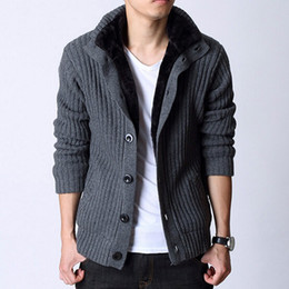 Wholesale Cardigans For Men Sale - Wholesale-European Style Mens High Collar Thick Warm Fleece Cardigan New 2014 Man Fashion Winter Turtleneck Sweater For Sale Factory