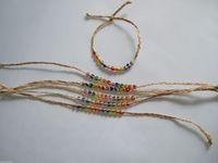 Wholesale Woven Beaded Bracelet Wholesale - 20pcs Natural Woven Raffia & Glass Seed Bead Friendship Bracelet Rainbow Fine Jewelry