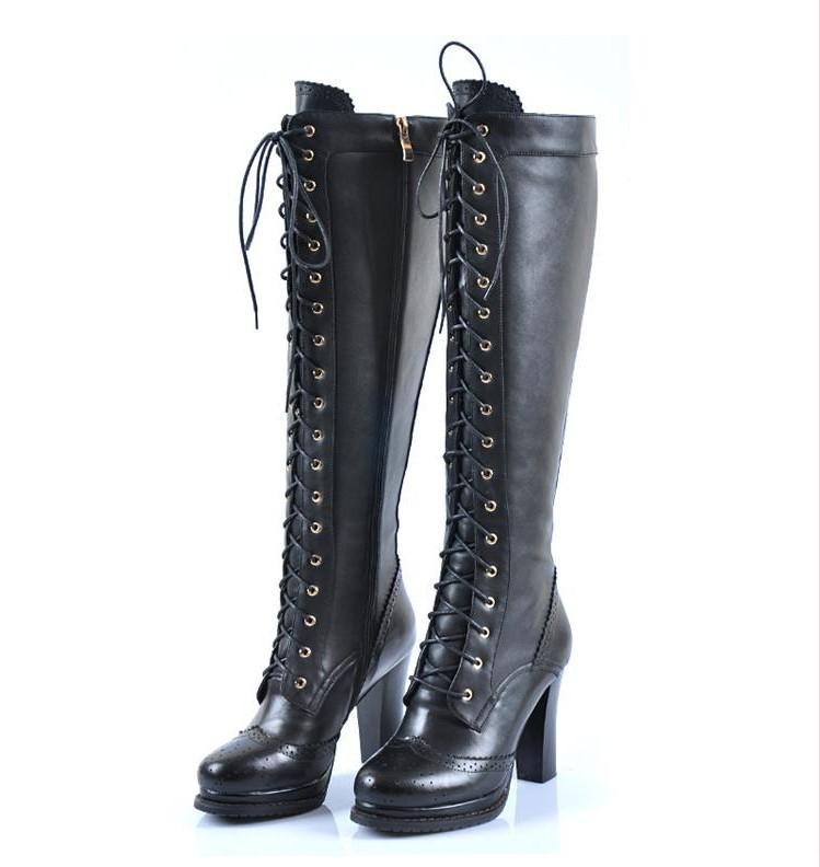 Punk Gothic Real Block Heel Ladies Knee Bootsxz066 Retro Sheepskin Up Wholesale High Lace Emo Leather l3T1uKcFJ