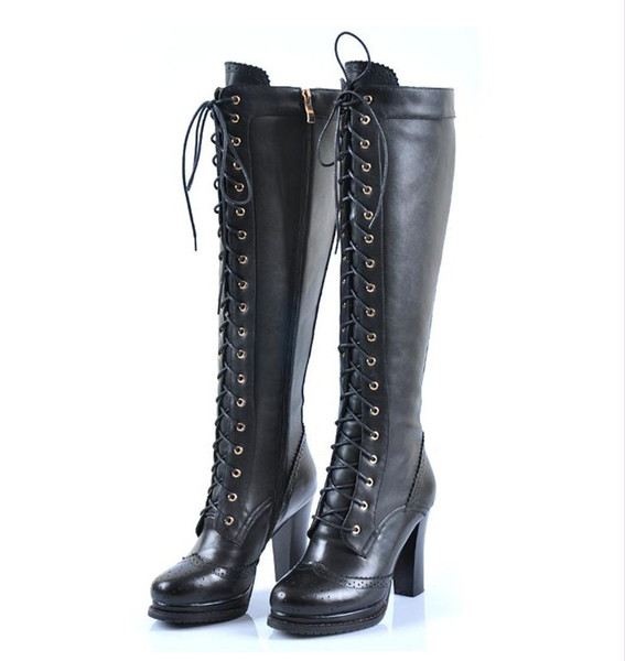 Wholesale-Sheepskin Ladies Retro Real Leather Lace Up Block Heel Punk Emo Gothic Knee High Boots #XZ066