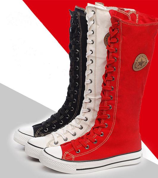 Livraison en gros sans vente chaude Mesdames filles Bottes femmes de toile Punk EMO Knee High Sneakers Mode causales Chaussures Bottes à lacets gothiques