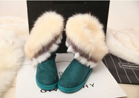 Wholesale Green High Wedges - Wholesale-High Quality Silky Soft Faux Fox Fur 2015 Fashion Ankle Snow Boots Winter Boots Size 36-40