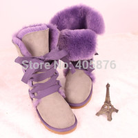 Wholesale Tall Wedge Boots Women - Wholesale-2015 Fashion 5818 Tall purple lace women's boots snow boots bow tie hair balls warm boots