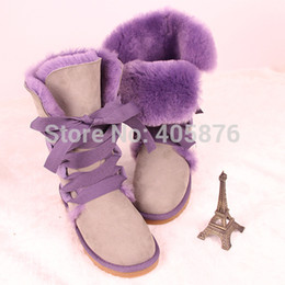 Wholesale Black Tall Wedge Snow Boots - Wholesale-2015 Fashion 5818 Tall purple lace women's boots snow boots bow tie hair balls warm boots