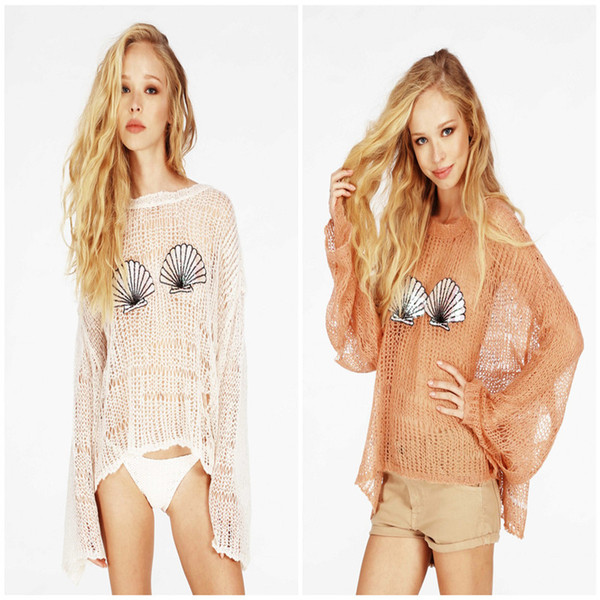 Wholesale-2015 Brand inverno wildfox Winter Hollow out Mermaid ShellPatterns Pullover Tops casacos femininos Women Knitted Sweater