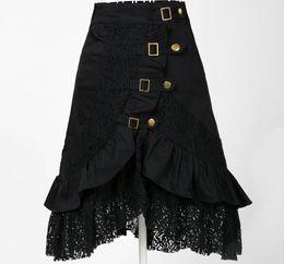 Wholesale Unique Woman S Skirt - Wholesale-Wholesale clothing women party skirt lace black steampunk street clubwear gypsy unique design drop ship plus size fashions