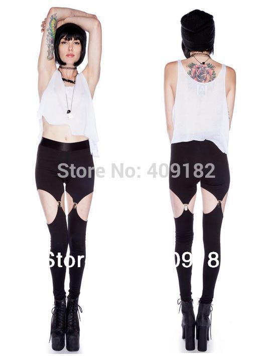 Wholesale-NZ8 2015 fashion Punk Rock Sexy Garter Leg Stretch Elastic Waist Leggings New Arrival+Free shipping
