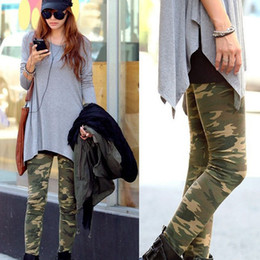 Wholesale Camouflage Stretch Pants - Wholesale-Womens Camouflage Army Print Stretch Cool Sexy Pants Skinny Leggings Trousers Freeshipping Dropshipping