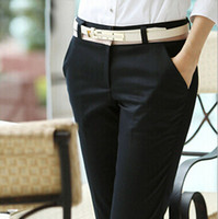 Wholesale Business Casual Pants - Wholesale-Office Ladies Career Pants Elegant Long Black Cotton Casual Women's Pants For Business Work Slim Trousers Female S-XXXL 2123