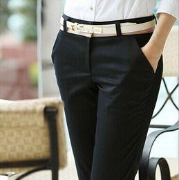 Atacado-Escritório Senhoras Calças de Carreira Elegante Longo Algodão Preto Calças Casuais das Mulheres Para O Trabalho de Negócios Magro Calças Femininas S-XXXL 2123 de
