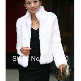 Wholesale Short Rabbit Fur Coats - Wholesale-Women Furry Fluffy Coat Faux Rabbit Fur Cardigan Luxury Warm Jacket Black White