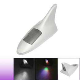Wholesale Shark Tail Antenna - Car Solar 8 LED Tail Light Shark Fin Decorative Antenna Decor Silver Tone