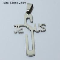 collares de las mujeres al por mayor-Collar mayorista-Jesús Cruz Colgantes de plata para mujer, acero inoxidable pulido, crucifijo cristiano Hombres, Dios bendiga, religioso