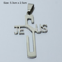 Wholesale Jesus Metal Pendant - Wholesale-Jesus Cross Necklace & Pendants Silver Women,Stainless Steel Metal Polished,Christian Crucifix Jewelry Men,God bless,Religious