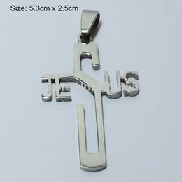 polished stainless necklace cross Promo Codes - Wholesale-Jesus Cross Necklace & Pendants Silver Women,Stainless Steel Metal Polished,Christian Crucifix Jewelry Men,God bless,Religious