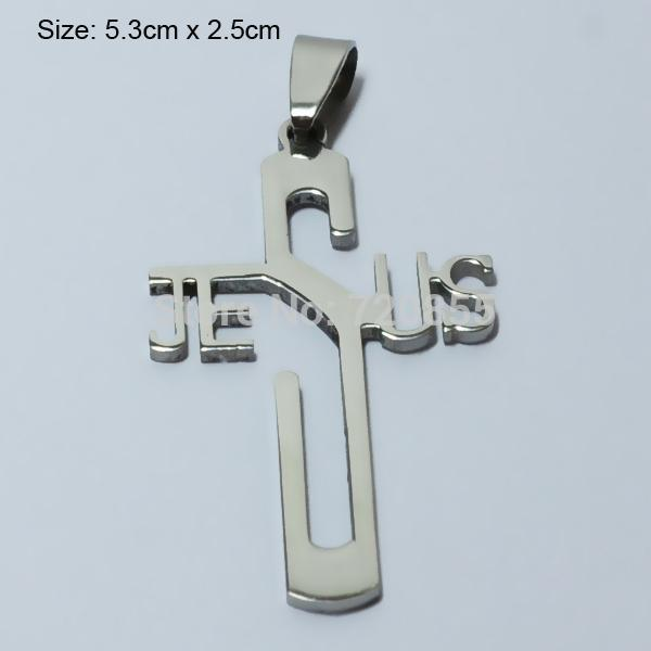 Wholesale-Jesus Cross Necklace & Pendants Silver Women,Stainless Steel Metal Polished,Christian Crucifix Jewelry Men,God bless,Religious