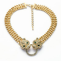 Wholesale leopard necklace gold - Wholesale-N00876 Free Shipping Hip Hop Cool Gold Chunky Chain Two Sparkling Clear Crystal Studded Cheetah Leopard Head Statement Necklace