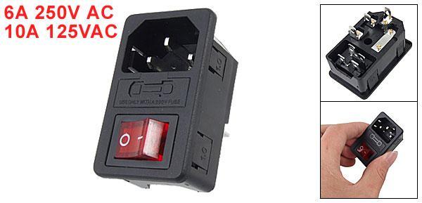 2019 Iec 320 C14 Red Light Rocker Switch Fuse Inlet Male