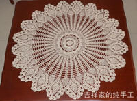 Wholesale 100 Cotton Handmade Crochet doily table cloth skirts cm tablecloth for wedding decoration beige Round table cloth cover Accessories