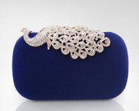 Wholesale-New 2015 Womens Clutch Evening Bag Upscale Rhinestone Velvet Hard Case Colorful Peacock Diamond Chain Bolsas Femininas