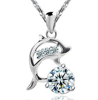 Wholesale 925 Sterling Silver Dolphin Necklaces - 925 Sterling Silver Wedding Jewelry Women Zirconia Austria Crystal Dolphin Pendant Water Necklace Silver Color Brand New