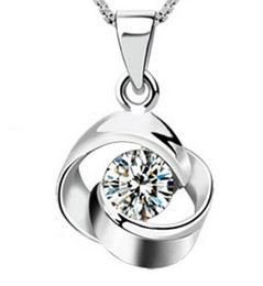 Chinese  925 Sterling Silver Pendant New Arrival Austrian Crystal Pendant Water Necklace Silver Color Fashion Jewelry For Women Bohemian Collar manufacturers