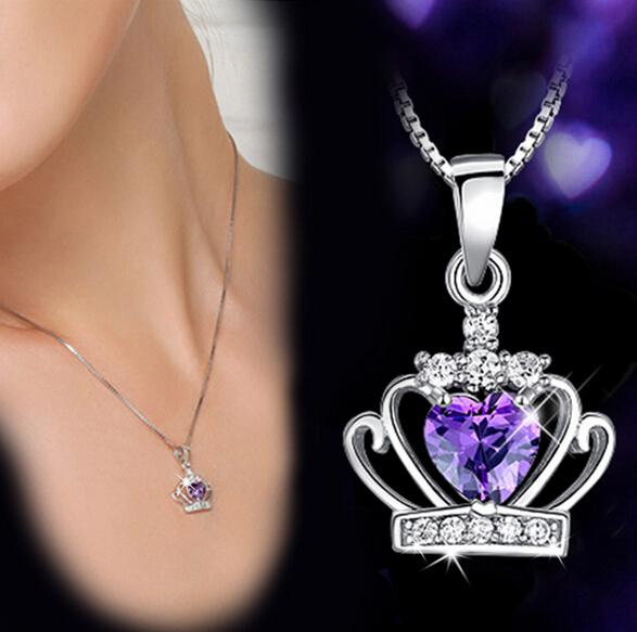 New Arrival 925 Sterling Silver Jewelry Austrian Crystal Crown Wedding Pendant Purple/Silver Water Wave Necklace