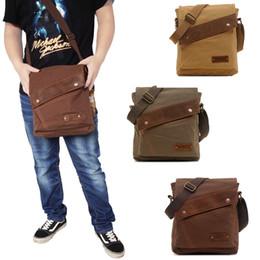 Wholesale Small Shoulder Satchel Men - Wholesale-Men Vintage Canvas Leather Bags Messenger Satchel small Shoulder Bags Casual Crossbody cross body bags men's bags