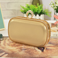 Wholesale-Gold Ring Clutch Femme Sac à main Diamond Evening Bag Wedding Party Chaîne Crysta Purse Hard Box Livraison gratuite