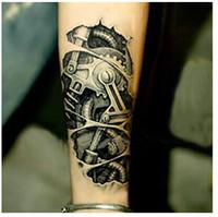 Wholesale Mechanical Arm - 3D mechanical arm fastening nut tattoo sticker for men arm hand body warterproof Temporary Tattoo tatuagem
