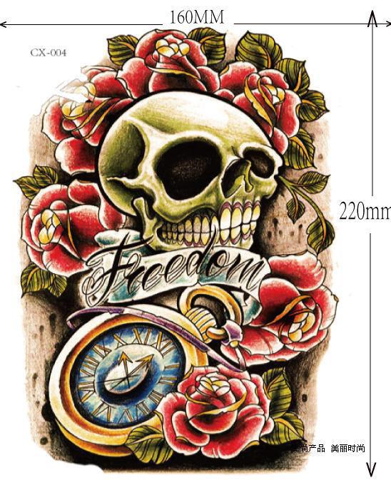 Skull 3d temporary tattoo stickers large big arm tattoo stickers men women temporary tattoo custom temporary tattoo stencils from hopewell zhang