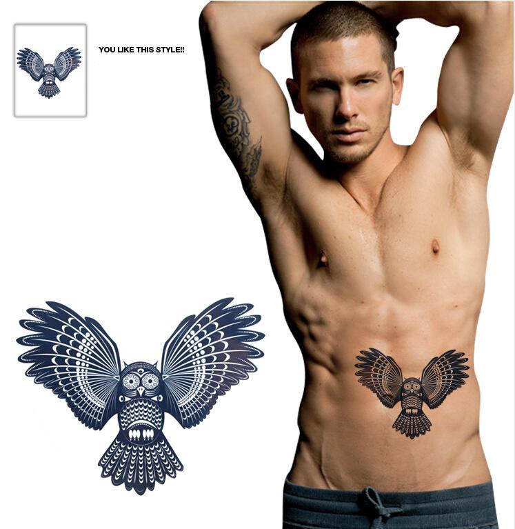 Large Temporary Tattoo Sticker Big Waterproof 3d Owl Tattoos Men ...