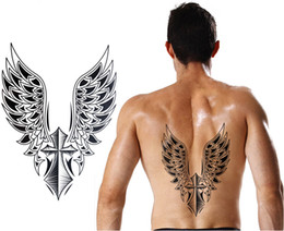 Wholesale Large Wings Tattoo - 21.5x30.5cm Large Temporary tattoo sticker big waterproof 3D Crosee Wings back tattoos men body art