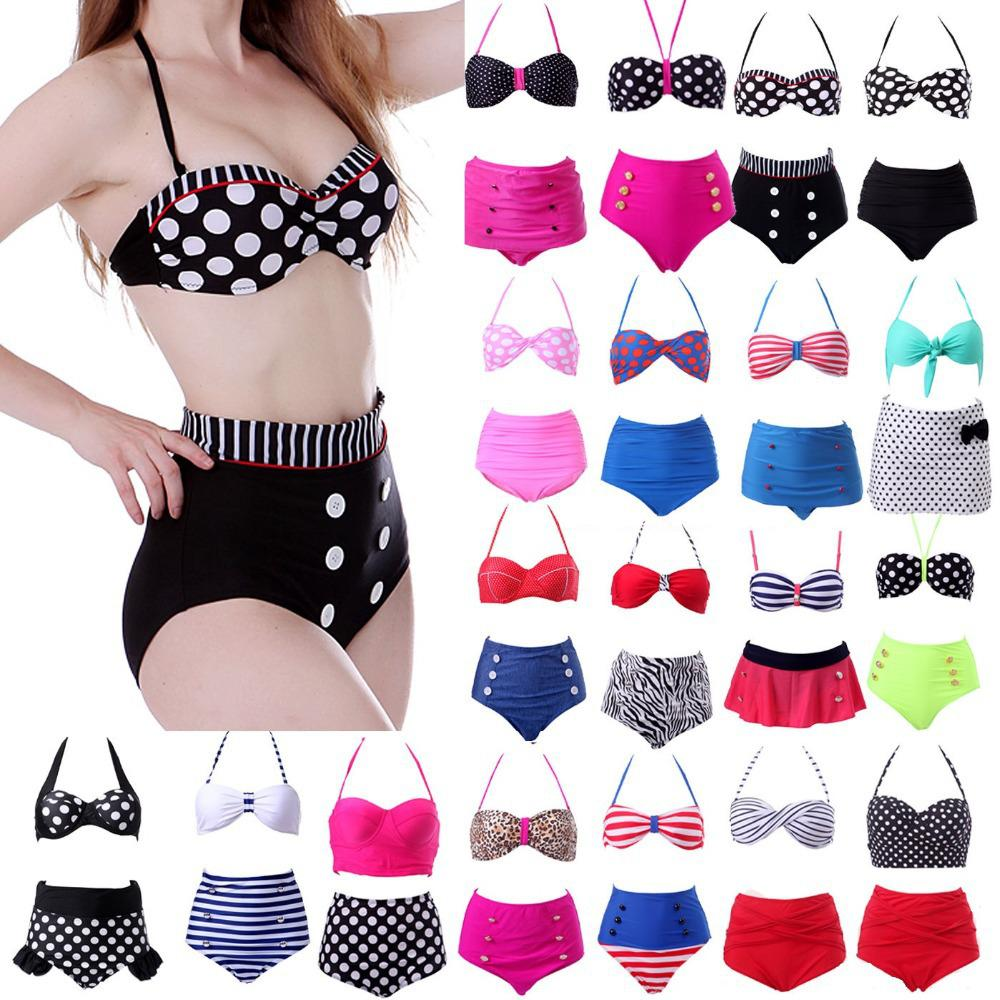 New 2018 Sexy Retro High Waist Swimsuit Bandage Women Swimwear Push Up Bikinis Set Bathing Suit