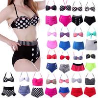 Wholesale Polka Dot Bathing Suit - New 2015 Sexy Retro High Waist Swimsuit Bandage Women Swimwear Push Up Bikinis Set Bathing Suit