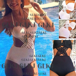Wholesale Padded Bottom - Wholesale-Sexy High Waisted Bottoms Push-Up Padded top plus size Monokini Bikini Swimsuit Swimwear