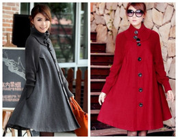 Wholesale Maternity Spring Outerwear - Wholesale-Plus size women clothing spring 2015 trench mm top medium-long woolen outerwear wool coat maternity Free shipping BJ043