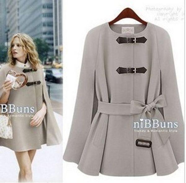Toptan-2015 [YZ053] sonbahar kadın yün giyim pelerin siper, palto, moda coats drop shipping wollblends