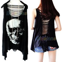 Wholesale Long Black Tank Shirt Women - Wholesale-Fashion Tassel Back SKULL PUNK Singlet Tank Top long Tee Shirt 1OIY