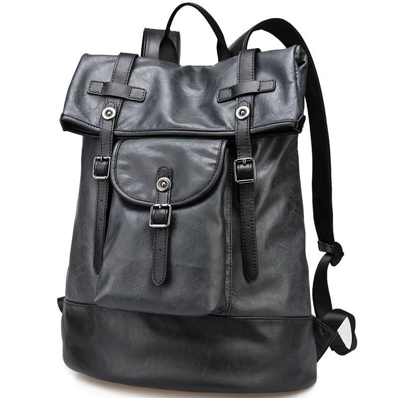Black Pu Leather Backpack Men Fashion Knapsack Travel Rucksack Bag ...