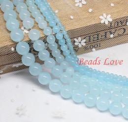 "Wholesale Jade Hot Stones - Wholesale-Hot Sale 4,6,8,10,12mm Aquamarine Jade Round Loose Stone Beads Aaa+ 15.5"" strand Pick Size Free Shipping(f00028) Aa"