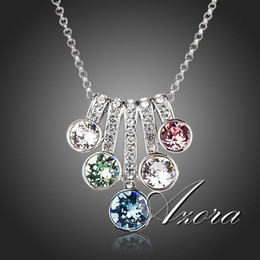 Wholesale Stellux Austrian Crystals - Wholesale-AZORA 5 Series Flower With Colorful Stellux Austrian Crystals Pendant Necklace TN0143