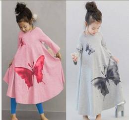 floral longo manga vestido miúdo coreano Desconto FRETE GRÁTIS christams vestido de festa das meninas roupas Grande borboleta trompete saia linda princesa do bebê vestido MOWQ = 1 PCS 2 cores