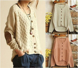 Wholesale Vintage Cardigan Sweaters - Wholesale-2015 New Women Knitted Sweater Korean Vintage Elbow Leather Patched Single Breasted Loose Cardigan Cute Sweaters Coat SW7007