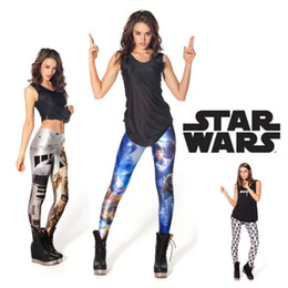 Wholesale Wholesale High Clothes - Wholesale-2015 Black Milk Leggings Women Legging Pants Star Wars Artoo and Threepio Fitness Clothing For Women Plus Size