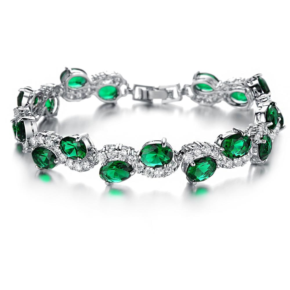 New! Plated White Gold Hand Chain Green Crystal Diamond Bangle ...