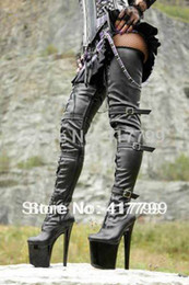 Wholesale Tall Woman Platforms - Wholesale-BEYOND Sexy Black Strappy Three Buckles Crazy Tall 20cm High Heels Exotic Platform Thigh high Boots ,women boots size 43