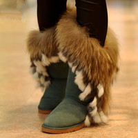 Wholesale Wholesale Teal Feathers - Wholesale-Free shipping! hot sale winter high-leg boots genuine leather snow boots rabbit and fox fur women's shoes